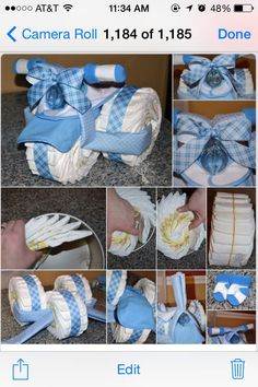 Cute And Easy Diaper Cakes ! Great For Baby Shower Gifts Eva Matusevič Cute And Easy Diaper Cakes ! Great For Baby Shower Gifts Eva Matusevič Deco Baby Shower, Bebe Shower, Baby Shower Diapers, Baby Shower Games, Baby Boy Shower, Diaper Shower, Tricycle Diaper Cakes, Nappy Cakes, Diaper Bike