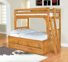 Twin Over Full Convertible Bunk Bed with 3 Drawers and Trundle, Entertainment Dresser in Honey Finish