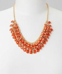 Look at this #zulilyfind! Orange & Gold Bib Necklace #zulilyfinds