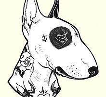 Tattooed Bullterrier by PaperTigressArt