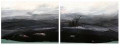 """Michael Pittman, Night Flight into Tartarus, mixed media on panels, 24"""" x 64"""", $1800"""