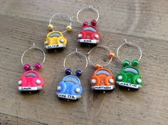wine charms 6 Beetle Car Handmade Personalised Wedding Party Dinner Favours