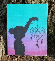 Heart Dream Catcher With Silhouette wood sign Oil Painting oil pastel painting Oil Pastel Paintings, Oil Pastel Art, Oil Pastel Drawings, Cool Art Drawings, Oil Pastels, Poster Color Painting, Diy Painting, Silhouette Painting, Black Silhouette