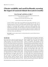 Climate variability and rural livelihoods: assessing the impact of seasonal…