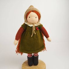 DUNIASHA - waldorf doll fairy, waldorf toy, hand knitted doll, cloth doll fairy, handmade doll, art doll, gift for girl, kids gift