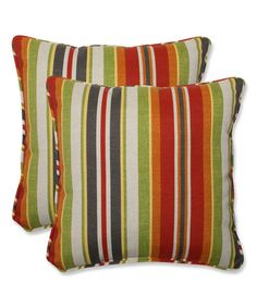 This Roxen Stripe Citrus Square Throw Pillow - Set of Two by Pillow Perfect is perfect! #zulilyfinds