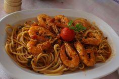 Spaghetti with Shrimp and Tomato, Basil Sauce