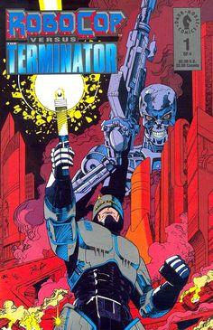 """Robocop vs Terminator"" (1992) Cover di Walter Simonson #Terminator #Robocop #DarkHorseComics #FrankMiller #WalterSimonson"