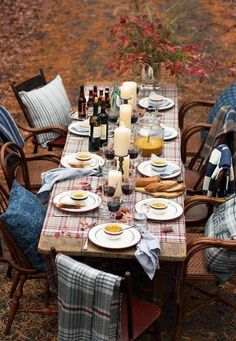A table setting perfect for fall! Explore the classic Lexington Company mugs, platters, napkins and napkin rings. Lexington Company, Lexington Home, Outdoor Thanksgiving, Hosting Thanksgiving, Thanksgiving Tablescapes, Fall Dinner, Dinner Table, Outdoor Dinner Parties, Outdoor Entertaining