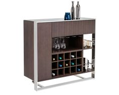 DALTON COCKTAIL BAR |  This modern and well-designed cocktail bar features 15 wine bottle compartments and a pull down door cabinet for storage. Finished in dark brown zebra wood with a polished stainless steel frame.