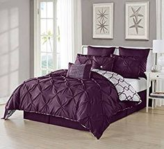 Amazon.com: Ruthy's Textile 3 Piece Pintuck Printed Reversible Duvet Cover Set, Duvet Cover with 2 Pillow Shams High Quality- Luxurious, Comfortable, Breathable, Soft (King/Cal King, Plum): Home & Kitchen