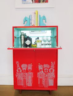 SOLD Upcycled Pillar Box Red Retro Vintage Cocktail Cabinet