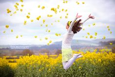 Girl Jumping in Rapeseed Field. Available as Wall Art (Canvas, Poster, Mounted Print, Acrylic, Aluminium and Gloss Print: http://thebellsistersart.com/shop/girl-jumping-in-rapeseed-field/