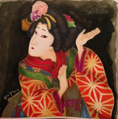 Japan Kabuki coloring by T Saldana My Books, Disney Characters, Fictional Characters, Snow White, Coloring, Japan, Disney Princess, How To Make, Painting