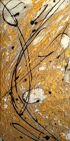 """""""Goldfluss"""" acryl on canvas, 30 x 80 cm Abstract Art, Canvas, Abstract, Kunst, Pictures, Tela, Canvases"""