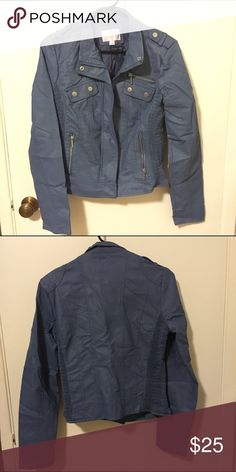 Xhilaration Blue Faux Leather Moto Jacket Super cute baby blue biker jacket. Faux leather. Never worn. Xhilaration brand from Target. Outer shell: Non-leather material. Lining: 100% polyester. Xhilaration Jackets & Coats