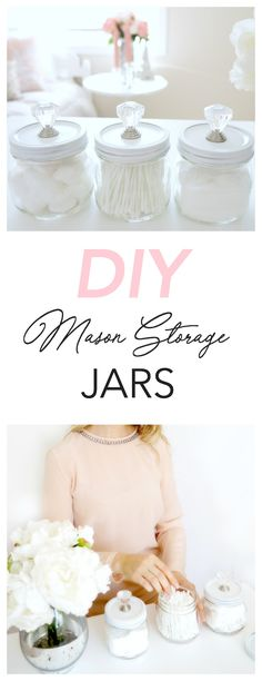 These DIY mason storage jars are an attractive way to organize items like Q-tips, cotton balls, and bath salts. Plus they're simple and affordable to make! Perfect for the bathroom or bedroom!