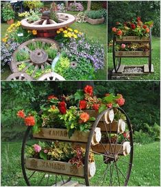 Wagon Wheel Front Yard Decor - There are tons of things seemingly trivial with a touch imagination, you& transform int… in 2020 Garden Yard Ideas, Diy Garden Decor, Garden Projects, Porch Garden, Garden Bed, Backyard Ideas, Diy Projects, Rustic Gardens, Outdoor Gardens
