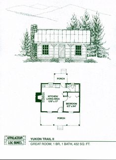 Yukon Trail II - 1 Bed, 1 Bath, 1 Story, 432 sq. ft., Appalachian Log & Timber Homes- Hybrid Home Floor Plan