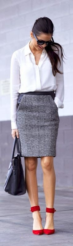 Greyish mini skirt with white shirt and red high heels