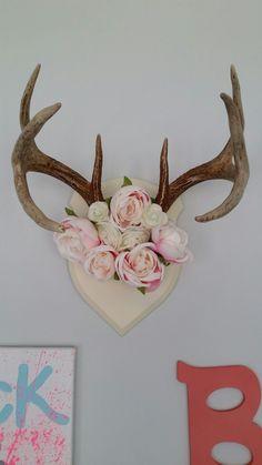 Flowers and antlers #antlersforgirls Deer antlers. Baby girl nursery.