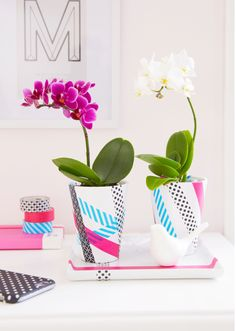 You can also decorate flowerpots with the new tesa® Deco Tape to give them a fresh look