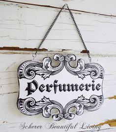 Rococo French Perfume Plaque Sign Home Decor Black and White Chic Art Paris ettyblue.blogspot.com