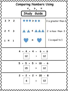 """FREEBIE!! Page from """"Comparing Numbers Using Greater Than, Less Than, Equal To, grades 2-3-4"""