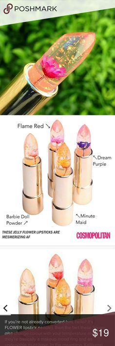 Kailijumei Jelly Flower Lipstick (Barbie Doll Powd As advertised on many magazines, the gorgeous flower jelly with gold specks lipstick is here!  The Kailijumei lipsticks change color adjusting to your body temperature! Guaranteed to show your best natural lip color while maintaining its moisture level with a sheer tint color! Brand new wrapped in original box! Sold out often! Don't miss out!  4 colors available in separate listings: Flame Red, Barbie Doll Powder, Minute Maid, Dream Purple…