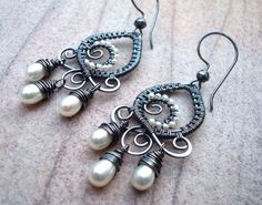 Pearl Earrings - Wire Wrap Earrings - Wire Wrapped Jewelry - Ivory Pearl Chandeliers - Boho Earrings - Indian Style Earrings - Boho Jewelry by Weaversfield on Etsy https://www.etsy.com/listing/221401795/pearl-earrings-wire-wrap-earrings-wire