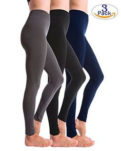 5cb9d47ca4bf3 3 Pack High Weisted Ultra Soft Fleece Lined Brushed Leggings Women s  Clothing Seamless Leggings