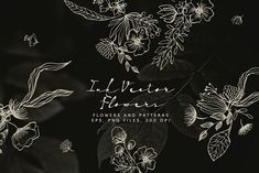 Ink Vector Flowers by Bloomart Webvilla on @creativemarket