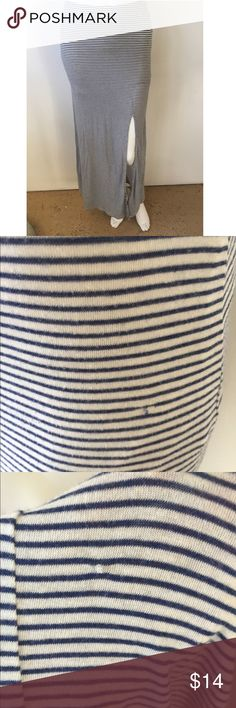 Striped maxi skirt Partially lined. Navy blue and cream stripes. Slit on side. Two tiny snags as pictured not noticeable when worn Forever 21 Skirts Maxi