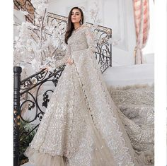 This bridal wear is one of its kind. fully studded and embellished with crystals, beads, pearls and exquisite zardosi work. Customisation available. Price is for replica as in the picture. To discuss… Asian Bridal Dresses, Pakistani Wedding Outfits, Indian Bridal Outfits, Indian Fashion Dresses, Pakistani Bridal Wear, Pakistani Wedding Dresses, Asian Bridesmaid Dresses, Lehenga Wedding, Sikh Wedding Dress