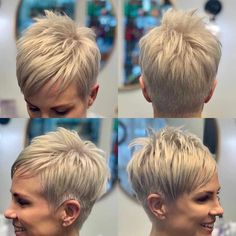 Platinum Blonde Pixie with Side Bang - 30 Standout Curly and Wavy Pixie Cuts - The Trending Hairstyle Cool Short Hairstyles, Short Pixie Haircuts, Undercut Hairstyles, Hairstyles Haircuts, Undercut Pixie Haircut, Casual Hairstyles, Medium Hairstyles, Latest Hairstyles, Weave Hairstyles