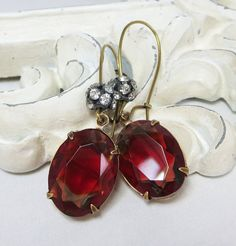 Ruby Red Gray Earrings Vintage Glass Red by dfoxjewelrydesigns