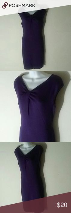 Calvin Klein Rayon/Nylon/Spndex Dress, 8 Perfect addition to your business casual wardrobe.  CK purple dress falls just below knee. 72% Rayon, 24% Nylon and 4% Spandex. Dark purple color with thick exposed zipper up back of dress. Stretchy fit. Size 8. Calvin Klein Dresses Midi