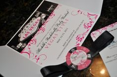 Las Vegas Bachelorette Party Invitation Pink and by trendytreasure, $4.00