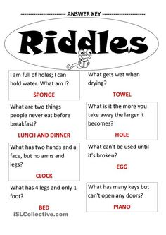 fun riddles with answers funny / fun riddles with answers ; fun riddles with answers brain teasers ; fun riddles with answers funny ; fun riddles with answers for kids Funny Riddles With Answers, Jokes And Riddles, Riddles Kids, Word Riddles, Tricky Riddles, Fun Games, Games For Kids, Kids Fun, Memory Games For Seniors