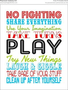 {Free Printable} Playroom Subway Art 8x10 by dominique