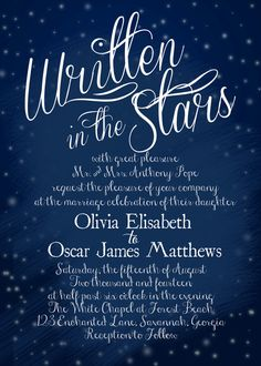 In The Stars Wedding Invitation PRINTABLE Star wedding Weddings