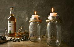 Pair of Mason Jar Candle Holders Rustic Wedding por LukeLampCo, $39.00