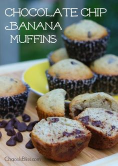 Use over-ripe bananas to make these easy Chocolate Chip Banana Muffins!