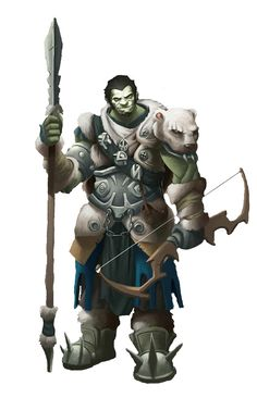 m Half Orc Fighter med Armor Bow Spear