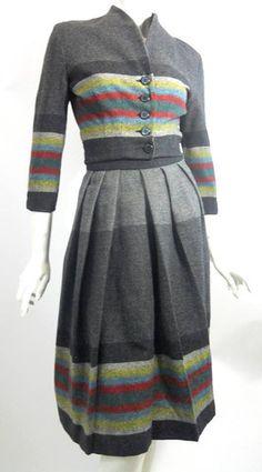 Smart Striped Skirt and Nipped Waist Top Dress Set circa 1940s - Dorothea's Closet Vintage