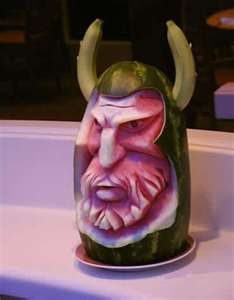 Viking carved watermelon.