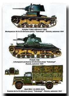 blindados alemanes durante la invasión de Rusia, 1941-42: carro T-26S capturado, PzKpfw 35(t) y camión Opel Blitz
