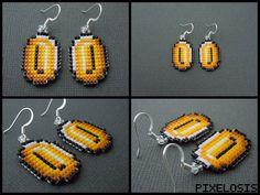 Handmade Seed Bead Coin Earrings by Pixelosis.deviantart.com on @DeviantArt