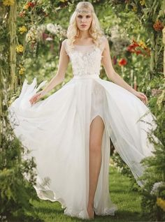 Light and flowy Illusion neckline wedding dress / Provence collection By RISH Studio