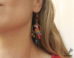 Boucles d'oreille Perroquets Miyuki Jade bleu Pierre